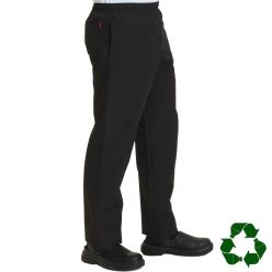 Dennys Black Fully Elasticated Long Life Chef Trousers