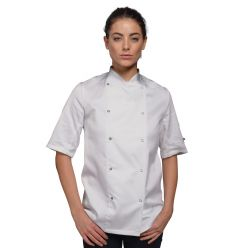 DD01AFD - white chef jacket with press studs