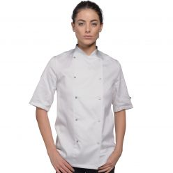 Dennys Short Sleeve White Jacket With Press Studs