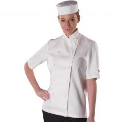 Dennys Polycotton White Short Sleeve Chefs Jacket