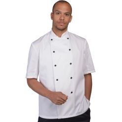 DD20AFD white with black studs chef jacket