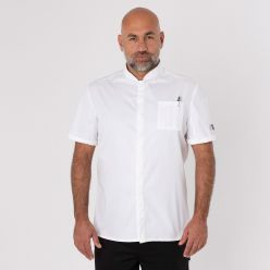 DF108 white chef shirt single breasted front