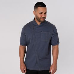 DF129 Asymmetric chef jacket blue