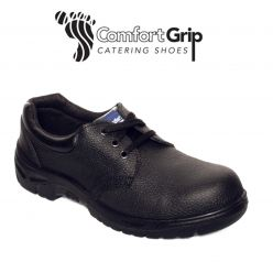 Comfort Grip Black Leather Safety Shoes