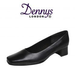 Dennys Ladies Black Court Shoe