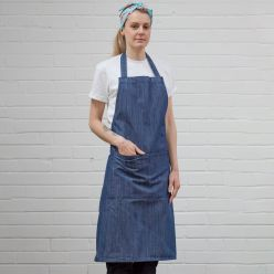 DP111 indigo bib apron with pocket and adjustable halter