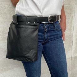 DP122 Black leather pocket