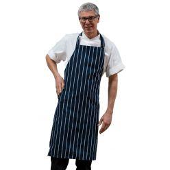 DP230 - woven butchers stripe bib apron with pocket