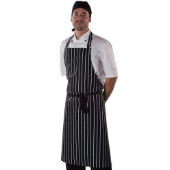 Dennys Striped Bib Apron With Adjustable Halter