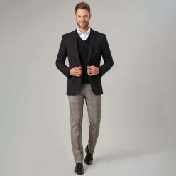 Brook Taverner Fabian grey check suit trousers